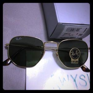New Ray-Ban Gold Hexagonal Flat Black Sunglasses